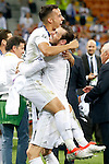 Real Madrid's Lucas Vazquez (l) and Garet Bale celebrate the victory in the UEFA Champions League 2015/2016 Final match.May 28,2016. (ALTERPHOTOS/Acero)