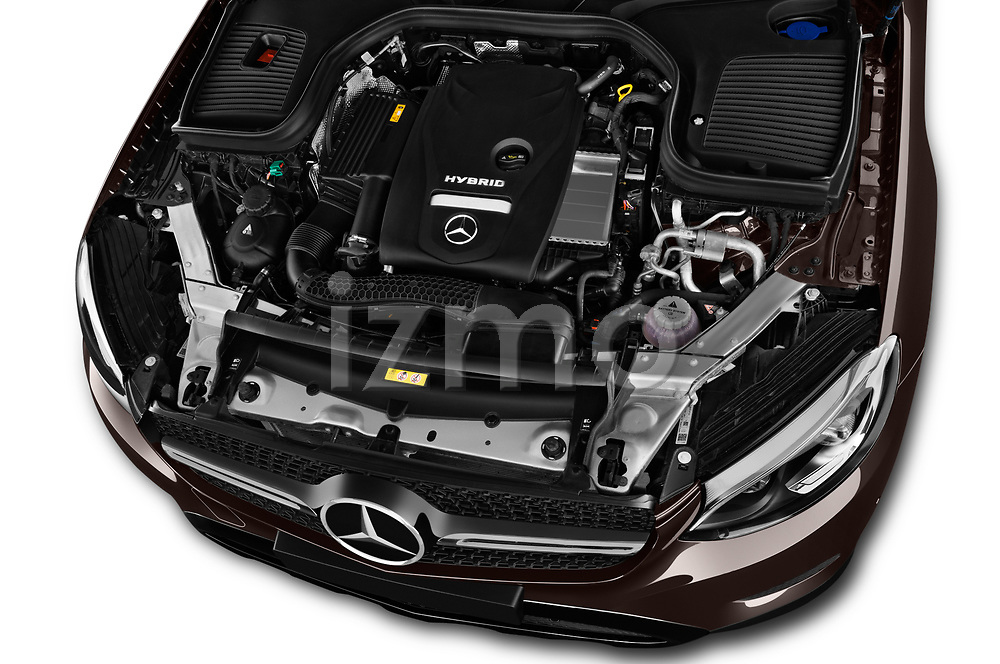 Car stock 2018 Mercedes Benz GLC Coupe 350 e 5 Door SUV engine high angle detail view