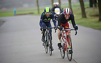 Alexandr Kolobnev (RUS/Katusha) and Nairo Quintana (COL/Movistar) try to bridge the gap to a 2nd group<br /> <br /> <br /> 70th Dwars Door Vlaanderen 2015
