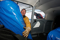 Volunteer chief pilot John Norris loads a bale of hay into his Cessna 180  bound for the Rainy Pass checkpoint at the Willow airport during the first day of flying straw, musher's dog food bags and people food & gear out to checkpoints south of the Alaska Range.  Saturday Feb. 21, 2009.  Because of summer pack horses living at the Rainy Pass lodge, hay is sent their instead of straw.   Iditarod 2009