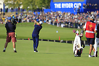 Henrik Stenson Team Europe plays his 2nd shot on the 15th hole during Friday's Foursomes Matches at the 2018 Ryder Cup 2018, Le Golf National, Ile-de-France, France. 28/09/2018.<br /> Picture Eoin Clarke / Golffile.ie<br /> <br /> All photo usage must carry mandatory copyright credit (&copy; Golffile | Eoin Clarke)