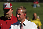 Washington State head coach, Matt Potter, watches his team during the Cougars non-conference tilt with Brigham Young at the Lower Soccer Field in Pullman, Washington, on September 10, 2009.  The Cougs prevailed over the other Cougars in the contest, 2-1.