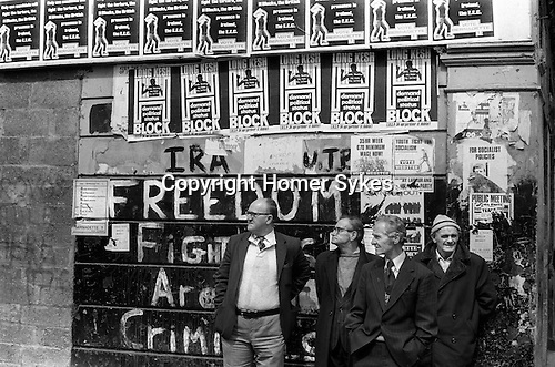 Derry Northern Ireland Londonderry. 1979. Unemployed men city centre.