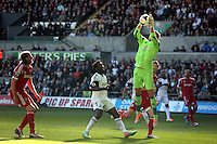 Saturday, 15 March 2014<br /> Pictured: Goalkeeper Ben Foster of West Brom (R) grabs the ball, Wilfried Bony of Swansea (C) watches on<br /> Re: Barclay's Premier League, Swansea City FC v West Bromwich Albion at the Liberty Stadium, south Wales, UK.