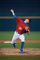 Buffalo Bisons relief pitcher Zach Jackson (38) during an International League game against the Scranton/Wilkes-Barre RailRiders on June 5, 2019 at Sahlen Field in Buffalo, New York.  Scranton defeated Buffalo 4-0, the second game of a doubleheader. (Mike Janes/Four Seam Images)