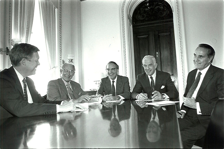 UNITED STATES - NOVEMBER 23: Congressional leaders sit down for a discussion at the Capitol on November 23, 1991. From left: House Majority Leader Dick Gephardt, D-Missouri, House Minority Leader Robert H. Michel, R-IL, Senate Majority Leader George J. Mitchell, D-Maine, Tom Foley, D-WA, and Senate Minority Leader Bob Dole, R-Kansas. (Laura Patterson/CQ Roll Call)