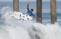 Huntington Beach, CA - Sunday August 06, 2017: Filipe Toledo during a World Surf League (WSL) Qualifying Series (QS) Quarterfinal heat in the 2017 Vans US Open of Surfing on the South side of the Huntington Beach pier.