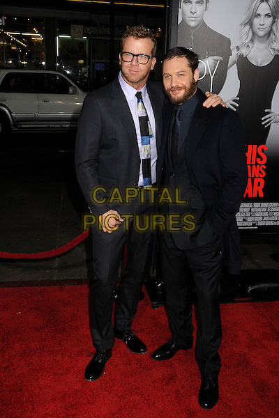 "McG (Joseph McGinty Nichol) & Tom Hardy.""This Means War"" Los Angeles Premiere held at Grauman's Chinese Theatre, Hollywood, California, USA..February 8th, 2012.full length black suit glasses purple shirt beard facial hair .CAP/ADM/BP.©Byron Purvis/AdMedia/Capital Pictures."