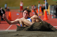 Auckland's Jenni Scott competes in the senior women's triple jump final on day three of the 2015 National Track and Field Championships at Newtown Park, Wellington, New Zealand on Sunday, 8 March 2015. Photo: Dave Lintott / lintottphoto.co.nz