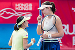 Shuko Aoyama of Japan (L) and Lidziya Marozava of Belarus (R) talk during during the doubles final match against Zhang Shuai of China and Samantha Stosur of Australia at the WTA Prudential Hong Kong Tennis Open 2018 at the Victoria Park Tennis Stadium on 14 October 2018 in Hong Kong, Hong Kong. Photo by Yu Chun Christopher Wong / Power Sport Images