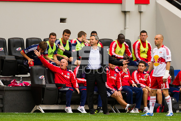 Chicago Fire head coach Frank Klopas. The Chicago Fire defeated the New York Red Bulls 2-0 during a Major League Soccer (MLS) match at Red Bull Arena in Harrison, NJ, on October 06, 2012.