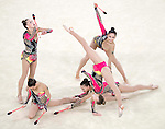 Germany team group (GER),<br /> AUGUST 20, 2016 - Rhythmic Gymnastics :<br /> Group All-Around Qualification, Rotation 2 Clubs and Hoop at Rio Olympic Arena during the Rio 2016 Olympic Games in Rio de Janeiro, Brazil. (Photo by Enrico Calderoni/AFLO SPORT)