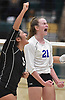 Emma McGovern #21 of Long Beach, right, and Kathleen Verastegui #5 react as their team closes in on a 3-2 win over Commack in the girls volleyball Class AA Long Island Championship at Farmingdale State College on Sunday, Nov. 11, 2018.