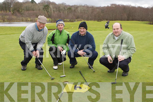 Dan O'Connell, Gene Cronin, Peter McGrath Killarney and Brendan O'Neill Gneeveguilla on the sixth green on Castlerosse Golf Course on Sunday