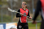 GER - Mainz, Germany, March 20: During the 1. Bundesliga Damen lacrosse match between Mainz Musketeers (white) and SC Frankfurt 1880 (red) on March 20, 2016 at Sportgelaende Dalheimer Weg in Mainz, Germany. Final score 7-12 (HT 3-5). (Photo by Dirk Markgraf / www.265-images.com) *** Local caption *** Jaana Mattwig #9 of SC Frankfurt 1880