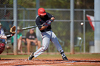 Ball State Cardinals third baseman William Baker (32) bats during a game against the Saint Joseph's Hawks on March 9, 2019 at North Charlotte Regional Park in Port Charlotte, Florida.  Ball State defeated Saint Joseph's 7-5.  (Mike Janes/Four Seam Images)