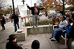 "Gary Fitzgerald, a ""Move to Amend"" organizer, leads a teach-in outside a meeting of the UC Regents at UC Davis, No ember 28, 2011."