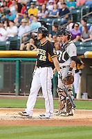 John Hester (22) of the Salt Lake Bees at bat against the Sacramento River Cats at Smith's Ballpark on June 6, 2014 in Salt Lake City, Utah.  (Stephen Smith/Four Seam Images)