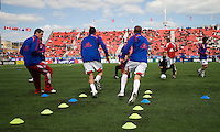 11 April 2009: FC Dallas players warm-up during MLS action at BMO Field Toronto, in a game between FC Dallas and Toronto FC. .Final score was a 1-1 draw.