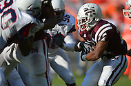 September 7, 2013  (Washington, DC)  Winston Bodrick RB #27 of the Morehouse Maroon Tigers runs the ball during a 3rd quarter play against the Howard Bison in the 2013 AT&T Nations Football Classic at RFK Stadium in Washington, D.C.  (Photo by Don Baxter/Media Images International)