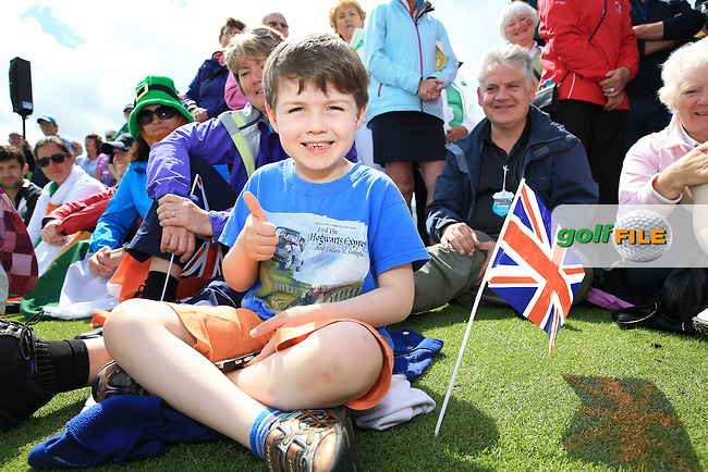 A smiling happy chappy flying the Union Jack during the Closing Ceremony at the 2016 Curtis Cup, played at Dun Laoghaire GC, Enniskerry, Co Wicklow, Ireland. 12/06/2016. Picture: David Lloyd | Golffile. <br /> <br /> All photo usage must display a mandatory copyright credit to &copy; Golffile | David Lloyd.