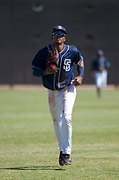 San Diego Padres outfielder Jeisson Rosario (53) jogs off the field between innings of an Instructional League game against the Milwaukee Brewers on September 27, 2017 at Peoria Sports Complex in Peoria, Arizona. (Zachary Lucy/Four Seam Images)