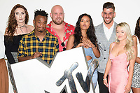 "Dee Hughes, Jon Swan, Chris McNaughten, Maya Jama, Daniel James and Olivia Beaumont<br /> at launch photocall for MTV's ""True Love or True Lies?"", London<br /> <br /> ©Ash Knotek  D3417  07/08/2018"