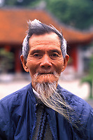 Portrait of a Man with White Beard. Hanoi Van Mieu,  Vietnam