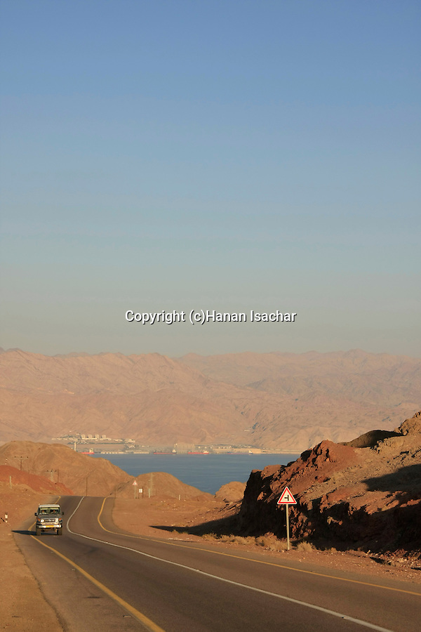 Israel, Eilat Mountains, Road 12, the Red Sea in the background