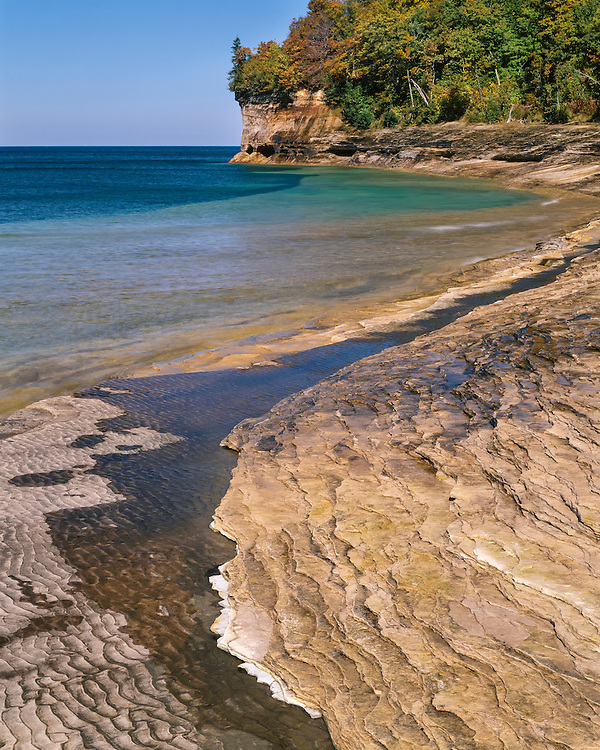 Eroded sandstone beach on the shore of Lake Superior at Mosquito Beach; Pictured Rocks National Lakeshore, MI