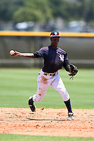 GCL Yankees 1 shortstop Jorge Mateo (11) throws to first during the first game of a doubleheader against the GCL Braves on July 1, 2014 at the Yankees Minor League Complex in Tampa, Florida.  GCL Yankees 1 defeated the GCL Braves 7-1.  (Mike Janes/Four Seam Images)