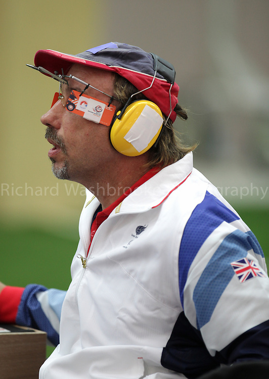 Paralympics London 2012 - ParalympicsGB - Shooting Mens P1-10m Air Pistol- SH1 Heats 30th August 2012.  .Adrian Bunclark competing in the Mens P1-10m Air Pistol-SH1 Heats at the Paralympic Games in London. Photo: Richard Washbrooke/ParalympicsGB