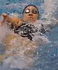 Liz Walsh of Bellmore-Merrick swims to victory in the 100 backstroke event during a Nassau County varsity girls swimming meet against Garden City at Nassau Aquatic Center in East Meadow on Tuesday, Oct. 18, 2016.