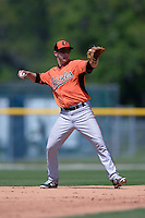 Baltimore Orioles Anthony Caronia (9) during a minor league spring training game against the Boston Red Sox on March 18, 2015 at the Buck O'Neil Complex in Sarasota, Florida.  (Mike Janes/Four Seam Images)
