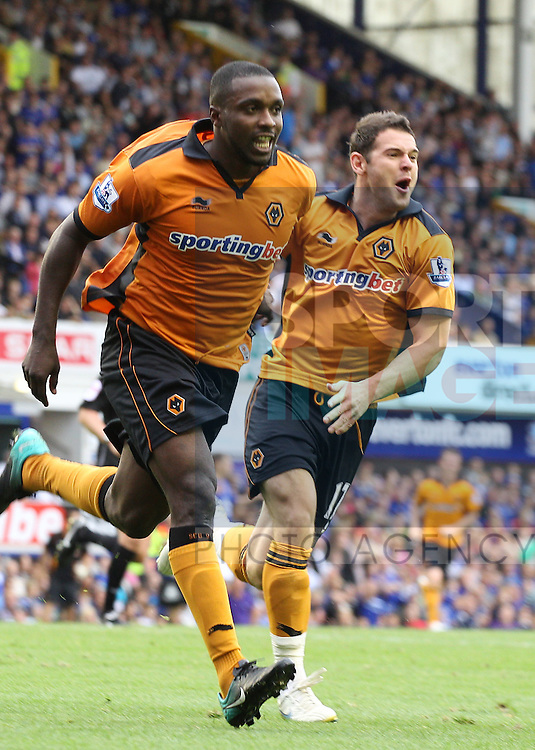 Sylvain Ebanks-Blake celebrates his goal for Wolves with Matt Jarvis (r) in support