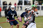 GER - Hannover, Germany, May 30: During the Men Lacrosse Playoffs 2015 match between HLC Rot-Weiss Muenchen (blue) and KKHT Schwarz-Weiss Koeln (weiss) on May 30, 2015 at Deutscher Hockey-Club Hannover e.V. in Hannover, Germany. Final score 5:6. (Photo by Dirk Markgraf / www.265-images.com) *** Local caption *** Philipp Broz #20 of KKHT Schwarz-Weiss Koeln