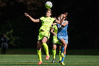 Seattle, WA - Sunday, May 22, 2016: Seattle Reign FC midfielder Beverly Yanez (17) wins a header against Chicago Red Stars midfielder Amanda Da Costa (13) during a regular season National Women's Soccer League (NWSL) match at Memorial Stadium.