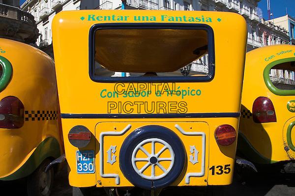 Three wheeled taxi parked at a taxi rank, Havana, La Habana Vieja, Cuba