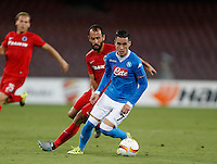 Napoli's Jose Callejon  during the Europa  League Group D soccer match against Brugge   at the San Paolo  Stadium in Naples September 17, 2015