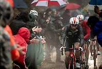 Thomas de Gendt (BEL/Lotto-Soudal) up the extremely wet, cold & misty Cole di Mortirolo <br /> <br /> Stage 16: Lovere to Ponte di Legno (194km)<br /> 102nd Giro d'Italia 2019<br /> <br /> ©kramon
