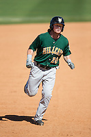 Clint Frazier (20) of the Lynchburg Hillcats rounds the bases after hitting a home run against the Winston-Salem Dash at BB&T Ballpark on August 2, 2015 in Winston-Salem, North Carolina.  The Hillcats defeated the Dash 8-3.  (Brian Westerholt/Four Seam Images)