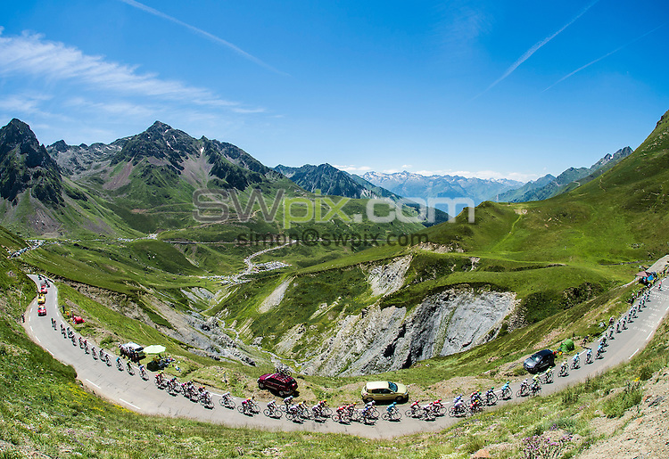 Picture by Alex Broadway/ASO/SWpix.com - 09/07/16 - Cycling - Tour de France 2016 - Stage Eight - Pau to Bagn&egrave;res-de-Luchon - The peloton in action.<br /> <br /> NOTE : FOR EDITORIAL USE ONLY. COMMERCIAL ENQUIRIES IN THE FIRST INSTANCE TO simon@swpix.com THIS IS A COPYRIGHT PICTURE OF ASO. A MANDATORY CREDIT IS REQUIRED WHEN USED WITH NO EXCEPTIONS to ASO/ALEX BROADWAY