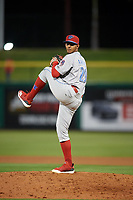 Clearwater Threshers relief pitcher Gustavo Armas (29) during a Florida State League game against the Dunedin Blue Jays on April 4, 2019 at Spectrum Field in Clearwater, Florida.  Dunedin defeated Clearwater 11-1.  (Mike Janes/Four Seam Images)