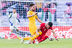 Milos Degenek of Australia (L) battles for the ball with Yousef Rawshdeh of Jordan during the AFC Asian Cup UAE 2019 Group B match between Australia (AUS) and Jordan (JOR) at Hazza Bin Zayed Stadium on 06 January 2019 in Al Ain, United Arab Emirates. Photo by Marcio Rodrigo Machado / Power Sport Images
