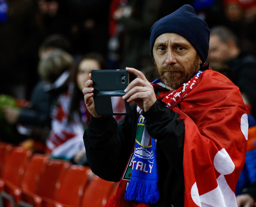 An Italy fan before the match<br /> <br /> Photographer Simon King/CameraSport<br /> <br /> International Rugby Union - RBS 6 Nations Championships 2016 - Wales v Italy - Saturday 19th March 2016 - Principality Stadium, Cardiff <br /> <br /> &copy; CameraSport - 43 Linden Ave. Countesthorpe. Leicester. England. LE8 5PG - Tel: +44 (0) 116 277 4147 - admin@camerasport.com - www.camerasport.com