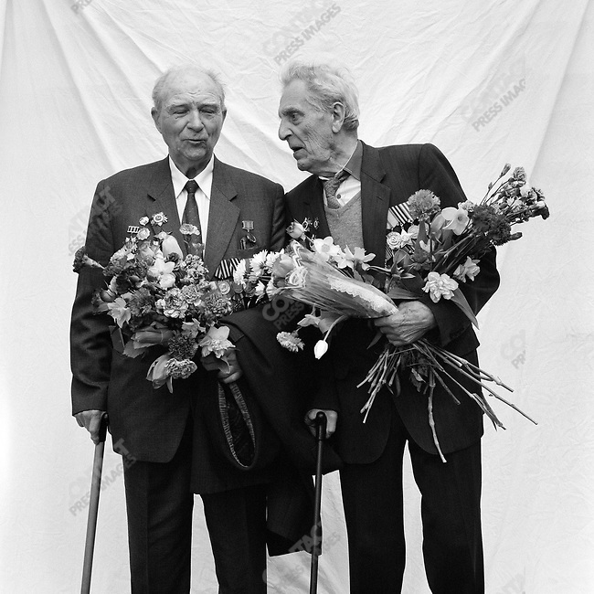 WWII veterans during Victory Day celebrations, Left to Right - Mikhail Ivanovich Krylov, b. 1924, Platoon Commander, Infantry; Valentin Borisovich Kruglushin, b. 1925, Scout, Infantry. Moscow, Russia, May 9, 2007