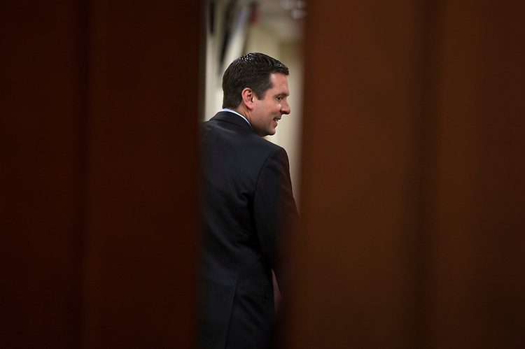 UNITED STATES - MARCH 15: Chairman of the House Permanent Select Committee on Intelligence Devin Nunes, R-Calif., and Rep. Adam Schiff, D-Calif., ranking member, off camera, leave a news conference in the Capitol Visitor Center where they addressed President Trump's wiretapping accusation and other matters, March 15, 2017. (Photo By Tom Williams/CQ Roll Call)