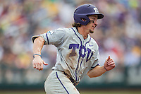 TCU Horned Frogs outfielder Cody Jones (1) rounds third base against the LSU Tigers in the NCAA College World Series on June 14, 2015 at TD Ameritrade Park in Omaha, Nebraska. TCU defeated LSU 10-3. (Andrew Woolley/Four Seam Images)