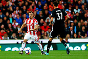 9th September 2017, bet365 Stadium, Stoke-on-Trent, England; EPL Premier League football, Stoke City versus Manchester United; Xherdan Shaqiri of Stoke City is watched by Nemanja Matic of Manchester United