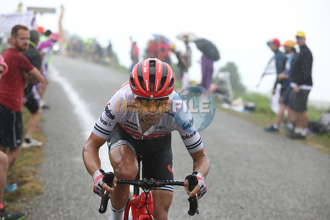 Richie Porte (AUS) Trek-Segafrdo approaches the finish on Prat d'Albis during Stage 15 of the 2019 Tour de France running 185km from Limoux to Foix Prat d'Albis, France. 20th July 2019.<br /> Picture: Colin Flockton | Cyclefile<br /> All photos usage must carry mandatory copyright credit (© Cyclefile | Colin Flockton)